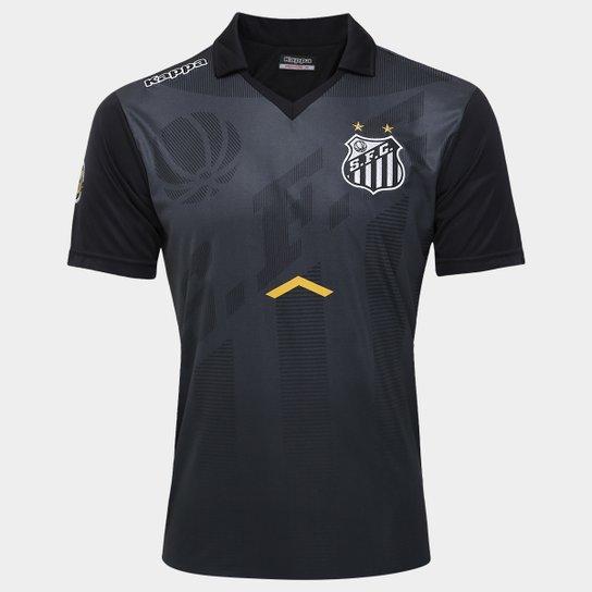 Camisa Polo Santos Comissão Técnica 17 18 Kappa Masculina - Preto+Grafite  ... 93518a87261b8