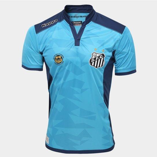 466ae4d4dec24 Camisa Santos Goleiro III 2016 s nº - Torcedor Kappa Masculina - Azul ...