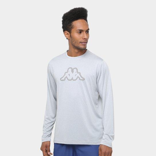 Camiseta Kappa Nassiri Manga Longa Masculina - Cinza - Compre Agora ... b1fb3b0aa16
