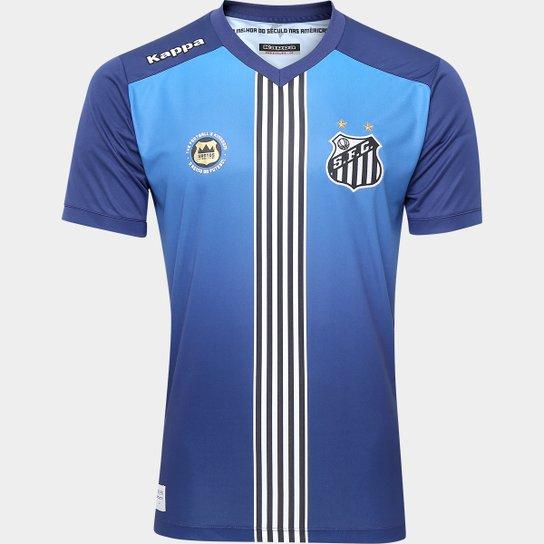 973d6230587a3 Camisa Santos III 2016 s nº Torcedor Kappa Masculina - Azul+Marinho ...