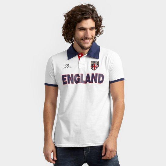 Camisa Polo Inglaterra Kappa Bravas Masculina - Branco+Marinho ... 354de79897f83