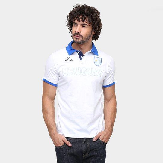 Camisa Polo Uruguai Kappa Bravas Masculina - Branco+Azul ... 9151af8cfb59f