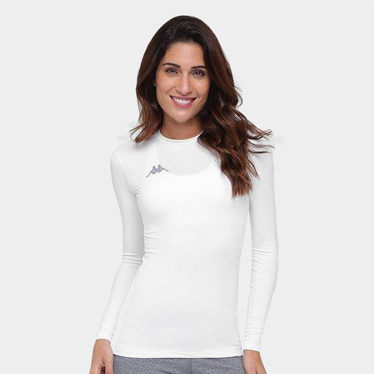 c3e1eb173fcd2 Camiseta Térmica Kappa Allenare Manga Longa Feminina - Branco ...