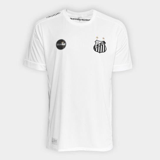 23fd2adb7d Camisa Santos I Réplica 17 18 Torcedor Kappa Masculina - Branco ...