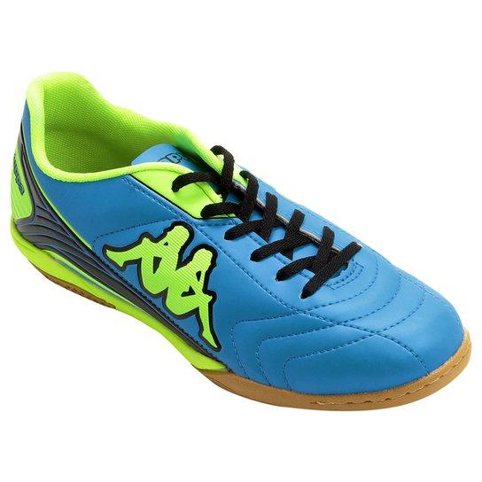 fe245a9afd Chuteira Futsal Kappa Energy Masculina - Azul Turquesa+Verde Limão ...