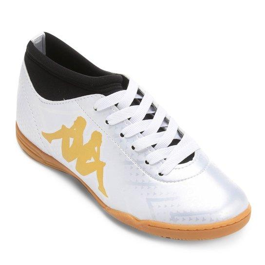 dda9140339 Chuteira Futsal Infantil Kappa Údine - Branco+dourado ...