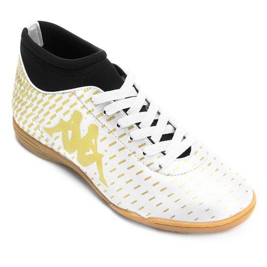 ec1f1aec4b Chuteira Futsal Kappa Matera - Branco+dourado ...