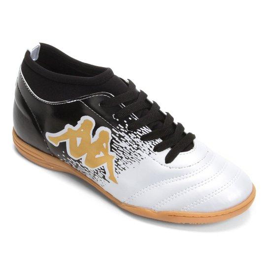 4842dd98a7 Chuteira Futsal Kappa Agility - Branco e dourado - Compre Agora