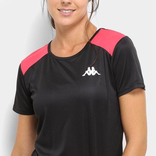Camiseta Kappa Fluid Feminino - Preto e Rosa - Compre Agora  d3064cf61e8d0