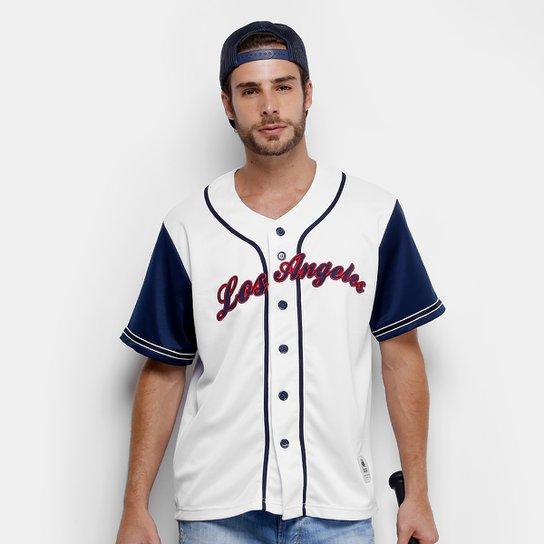 2f6fd6c20 Camisa Baseball Kappa Los Angeles 17 Masculina - Branco+Azul ...
