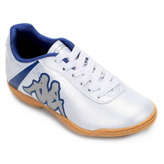 58c95b2f1a Chuteira Infantil Futsal Kappa Torpedo - Branco e Azul - Compre ...