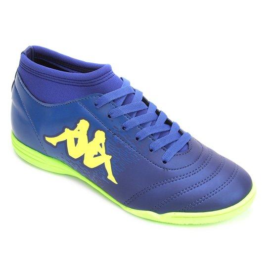 f2f28b3bcc Chuteira Futsal Kappa Agility - Azul e Verde Limão - Compre Agora ...