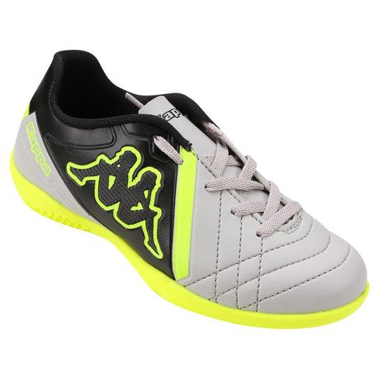 Chuteira Futsal Infantil Kappa Avanti - Cinza+Verde Limão ... 0b96fcad08892