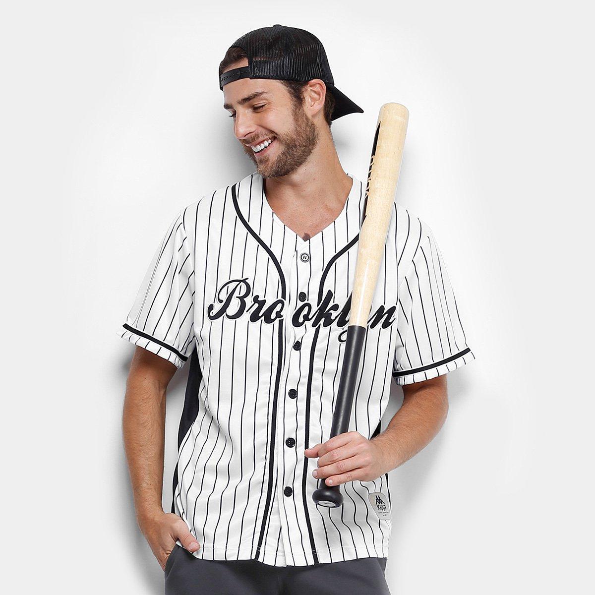 b5122b7856eaa Camisa Baseball Kappa Brooklyn 17 Masculina - Branco e Preto