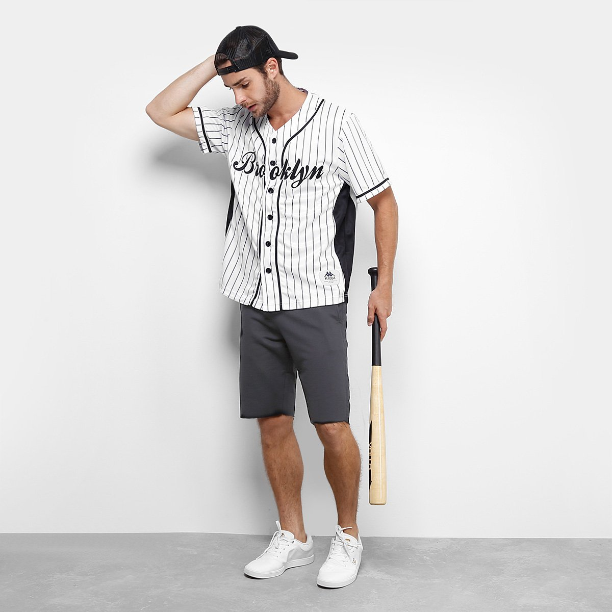 e74261f9d Camisa Baseball Kappa Brooklyn 17 Masculina - Branco e Preto