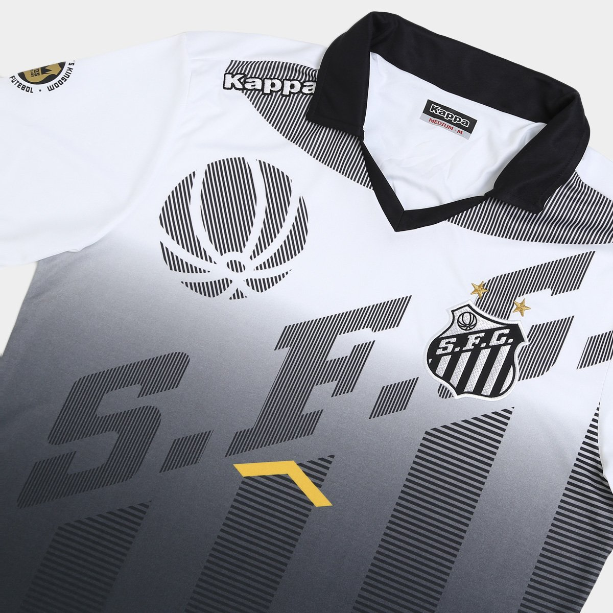 Camisa Polo Santos Kappa Comissão Técnica Viagem 17 18 Masculina - Preto e  Branco 437b372666216