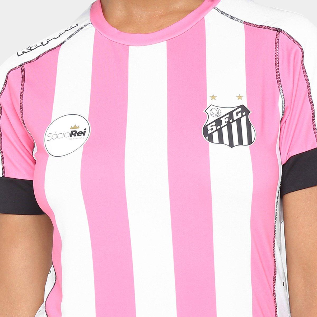 fdeab60bd68d3 Camisa Santos II Outubro Rosa 17 18 s nº Kappa Feminina - Branco e Rosa