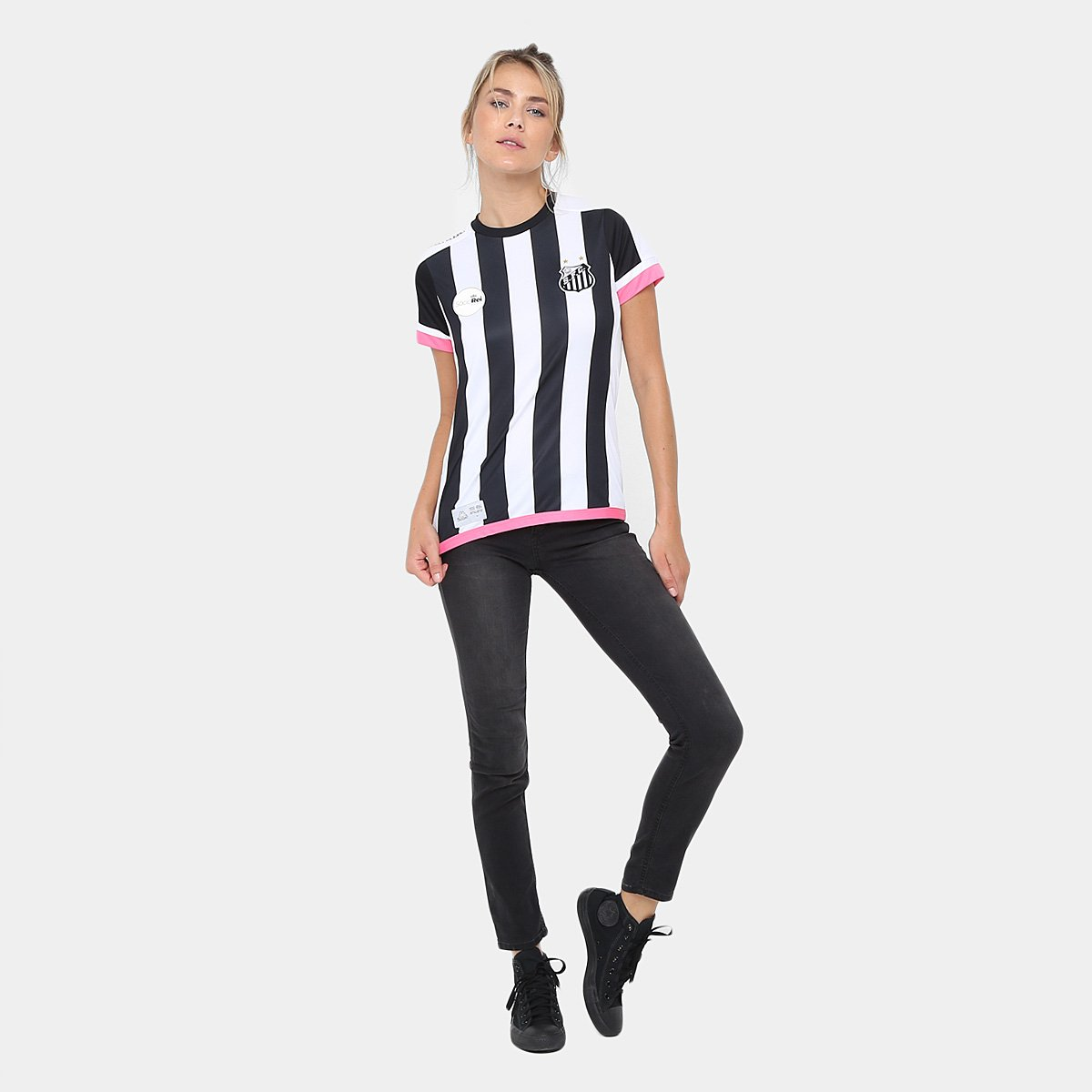 0ca7615236 Camisa Santos II Réplica 17 18 s nº Torcedor Kappa Feminina - Preto e Branco