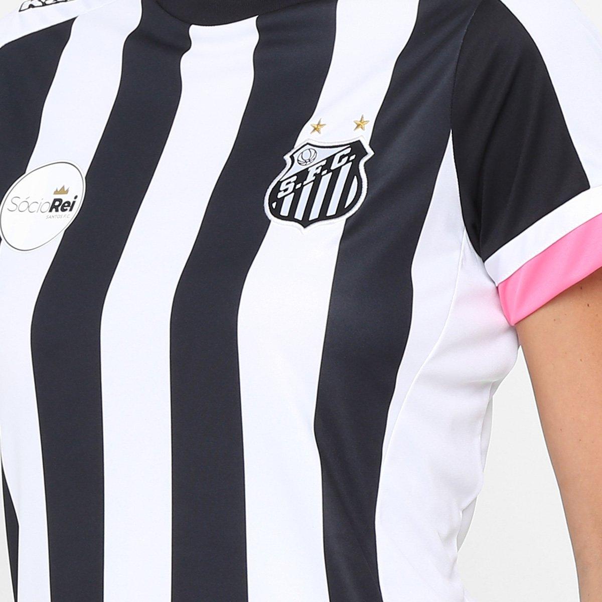 c6e26b1f37807 Camisa Santos II Réplica 17 18 s nº Torcedor Kappa Feminina - Preto e Branco