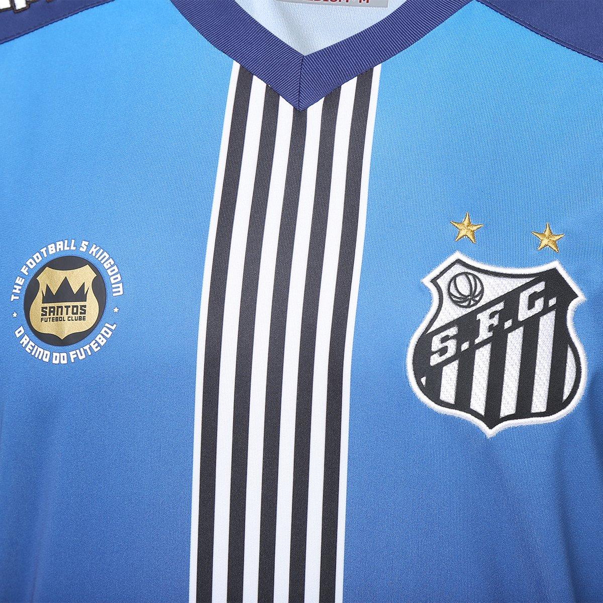 55ce2bde06c36 Camisa Santos III 2016 s nº Torcedor Kappa Masculina - Azul e Marinho