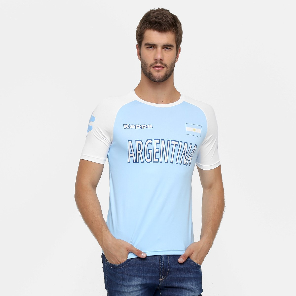 abajo Estragos Norma  Camiseta Argentina Kappa Kombat Masculina | Kappa