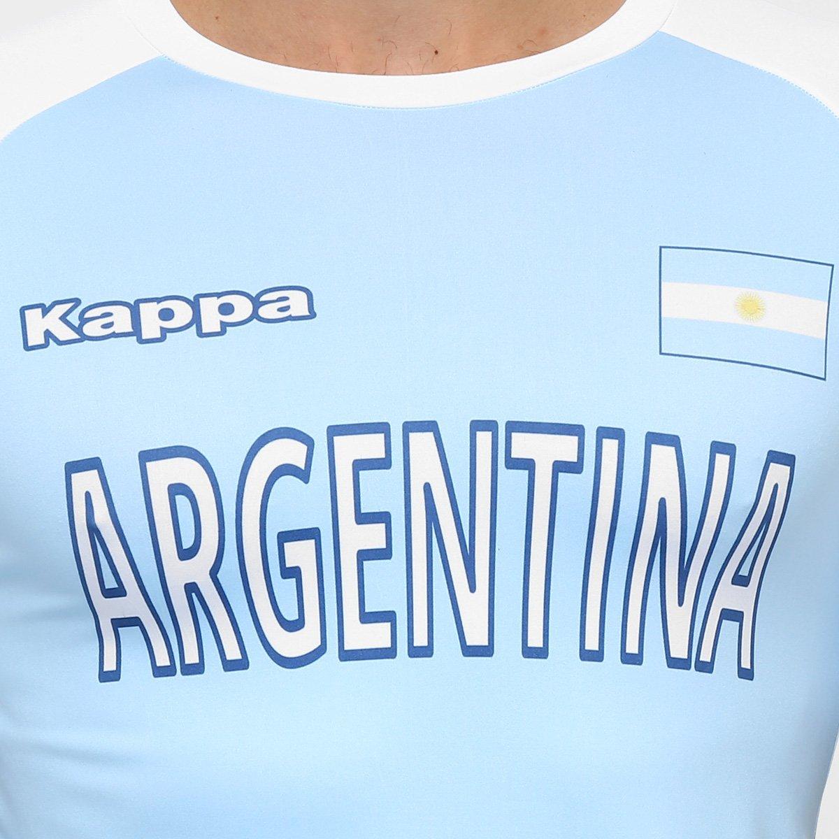 Camiseta Argentina Kappa Kombat Masculina - Azul Claro e Branco aefc5dde539dd
