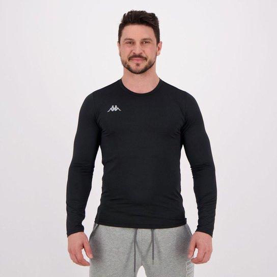 Camiseta Kappa Térmica Grip Manga Longa Masculina - Preto
