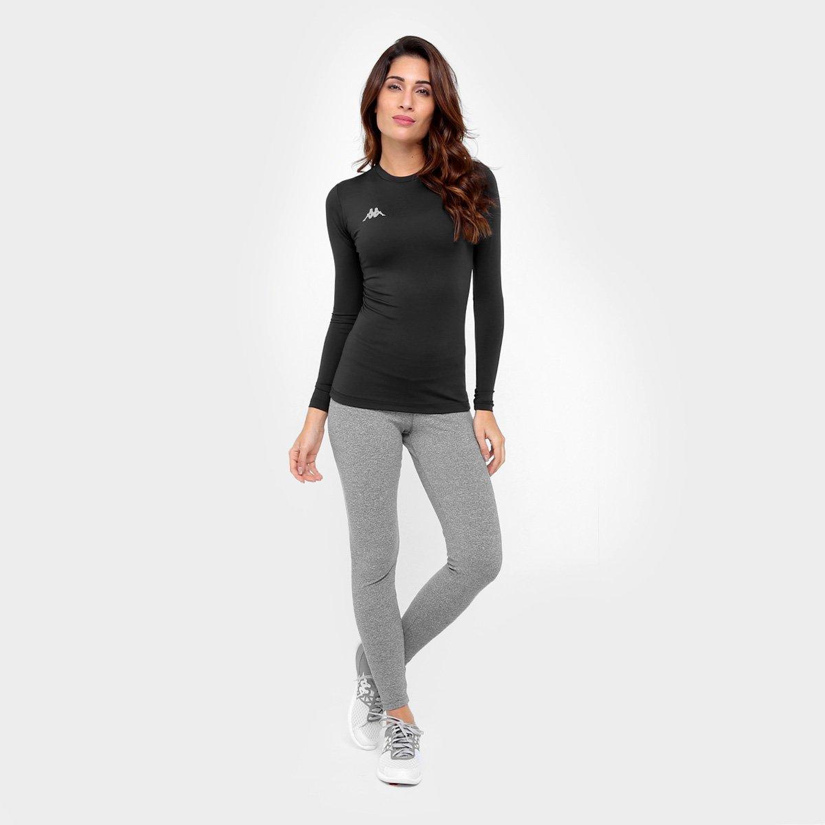 717e39d496d00 Camiseta Térmica Kappa Allenare Manga Longa Feminina - Preto ...