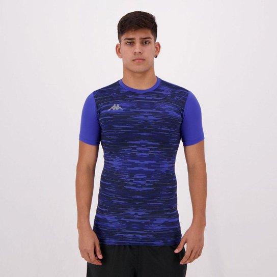 Camiseta Térmica Kappa Jenner Estampada Azul - Azul
