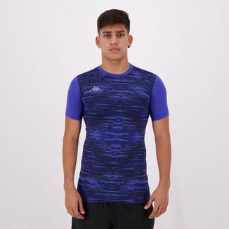 Camiseta Térmica Kappa Jenner Estampada Azul