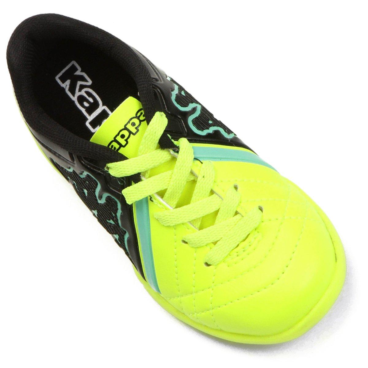 Chuteira Futsal Infantil Kappa Avanti - Verde Limão e Preto 1c46229ccd4be