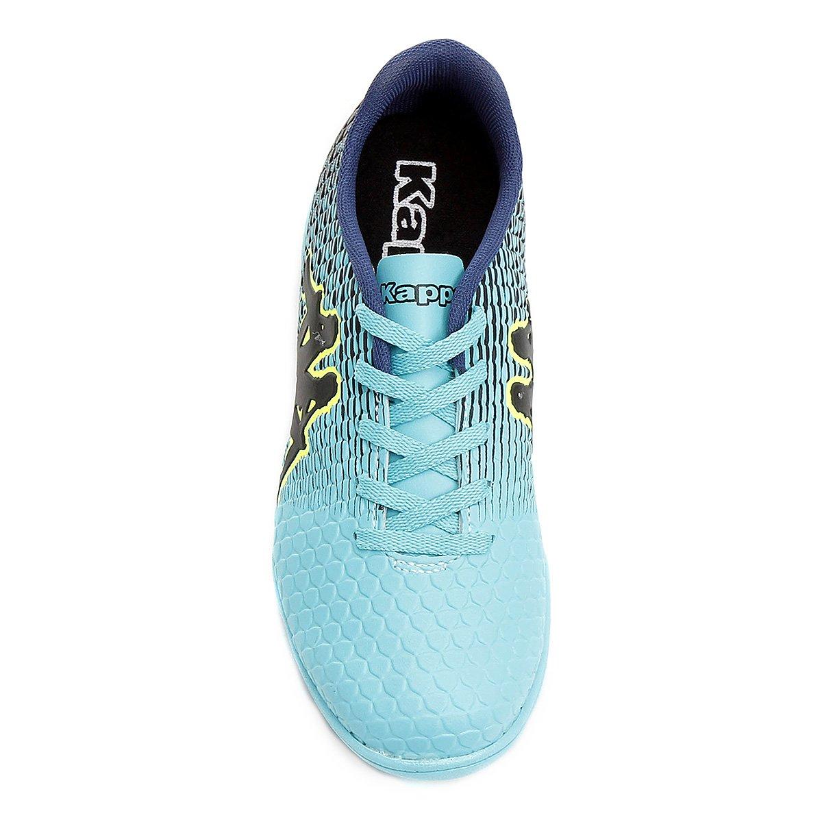 Chuteira Futsal Infantil Kappa Fortore - Azul Claro e Preto 5610d44af81d8