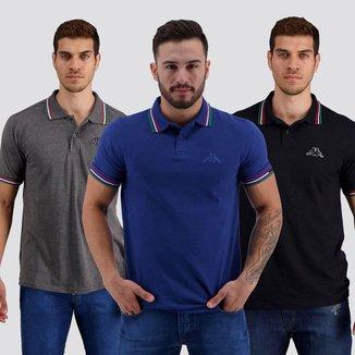 Kit de 3  Camisa Polos Kappa Fuerza Masculino