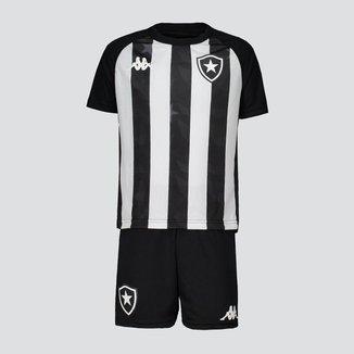 Kit Juvenil Kappa Botafogo Supporter Preto e Branco